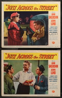 3g0721 JUST ACROSS THE STREET 2 LCs 1952 sexy Ann Sheridan did it for laughs & a little lovin!