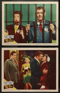 3g0722 KEY TO THE CITY 2 LCs 1950 Clark Gable and gorgeous Loretta Young behind bars & kissing!