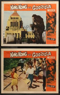 3g0723 KING KONG VS. GODZILLA 2 LCs 1963 image of the giant ape standing by building, people fleeing!