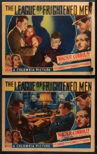 3g0729 LEAGUE OF FRIGHTENED MEN 2 LCs 1937 Walter Connolly as Nero Wolfe can get away w/ murder, rare!