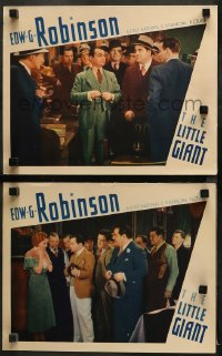 3g0732 LITTLE GIANT 2 LCs 1933 Edward G. Robinson, pretty Mary Astor shocked by tommy gun in one!