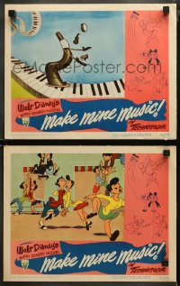 3g0736 MAKE MINE MUSIC 2 LCs 1946 Disney, horn juggling instruments on piano & characters dancing!