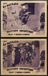 3g0743 MYSTERY MOUNTAIN 2 chapter 7 LCs 1934 Ken Maynard in inset & border, Tarzan the Cunning!