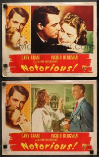 3g0744 NOTORIOUS 2 LCs 1946 great images of Cary Grant, Ingrid Bergman, Alfred Hitchcock classic!