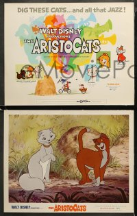 3g0027 ARISTOCATS 9 LCs 1971 Walt Disney feline jazz musical cartoon, great colorful images!