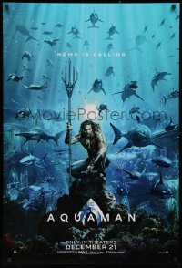 3h0256 AQUAMAN teaser DS 1sh 2018 DC, Jason Momoa in title role with great white sharks and more!