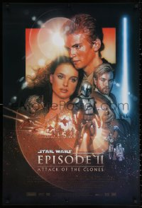 3h0257 ATTACK OF THE CLONES style B 1sh 2002 Star Wars Episode II, artwork by Drew Struzan!