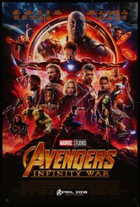 3h0264 AVENGERS: INFINITY WAR advance DS 1sh 2018 Robert Downey Jr., montage of top cast in circle!