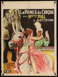 3h0628 ARTISTEN pre-War Belgian 1935 circus art of equestrian holding woman on horse by elephant!