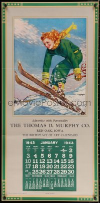 3h0004 CALENDAR SAMPLE calendar 1943 Snow Queen, Ellen Barbara Segner art of happy woman skiing!