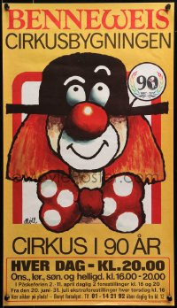3h0037 BENNEWEIS 14x25 Danish circus poster 1977 art of different, really cool clown!