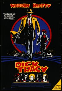 3h0070 DICK TRACY 27x40 video poster 1990 Warren Beatty as Chester Gould's classic detective!
