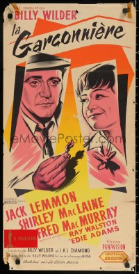 3h1097 APARTMENT French 16x32 1960 Billy Wilder, Jack Lemmon, MacLaine, completely different art!