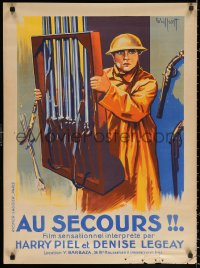3h1101 AU SECOURS French 24x32 1925 art of soldier Harry Piel carrying gun rack by Gaillant!