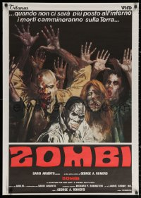 3h0069 DAWN OF THE DEAD 29x41 Japanese video poster R1980s Zombie art from Italian poster, rare!