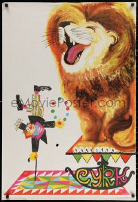 3h0040 CYRK Polish 26x39 1975 cool art of clown, cane and lion by St. Tomaszewski-Miedza!