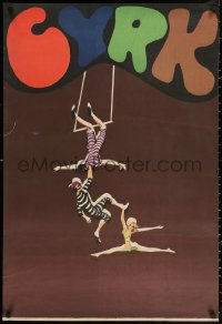 3h0039 CYRK Polish 26x39 1970 wonderful artwork of trapeze act by Kotarbinski!