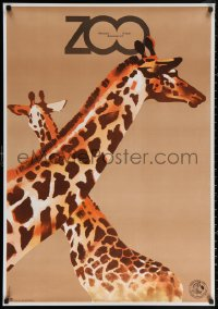 3h0045 WARSAW ZOO Polish 27x38 1979 cute Waldemar Swierzy art of two giraffes!