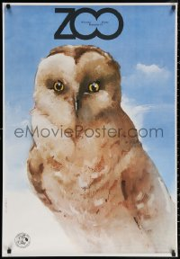 3h0043 WARSAW ZOO Polish 26x38 1979 wonderful close-up Waldemar Swierzy art of cool owl!