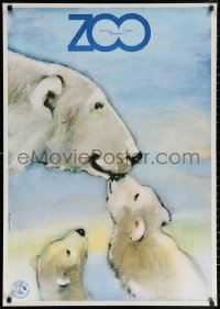 3h0044 WARSAW ZOO Polish 27x38 1979 cute Waldemar Swierzy art of polar bears!