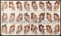 3h0005 COWBOY KINGS OF WESTERN FAME uncut postcard sheet 1973 John Wayne and many more top stars!