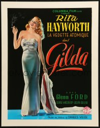 3h0016 GILDA 15x20 REPRO poster 1990s sexy smoking Rita Hayworth full-length in sheath dress
