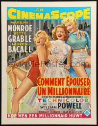 3h0017 HOW TO MARRY A MILLIONAIRE 15x20 REPRO poster 1990s Marilyn Monroe, Grable & Bacall!