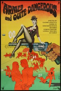 3h0739 ARMED & QUITE DANGEROUS export Russian 30x45 1978 Lemeshev art of woman on top of revolver!