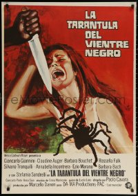 3h0956 BLACK BELLY OF THE TARANTULA Spanish 1974 art of huge spider, terrified girl attacked by knife!