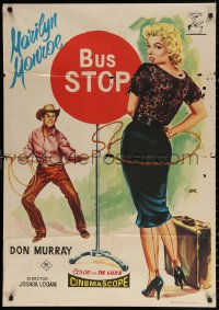 3h0958 BUS STOP Spanish 1958 cowboy Don Murray roping sexy Marilyn Monroe by Jano, different & rare!