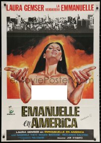 3h0971 EMANUELLE IN AMERICA Spanish 1977 art of sexy topless Laura Gemser in the title role!