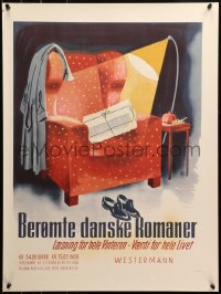 3h0021 BEROMTE DANSKE ROMANER 21x28 Danish advertising poster 1950s art of gift on man's chair!