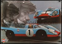 3h0022 GULF PORSCHE 917 2-sided 24x34 Swiss advertising poster 1970s Jo Siffert & schematic of racer!