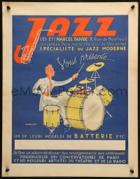 3h0024 JAZZ LES ETS MARCEL FAIVRE 17x21 French advertising poster 1940s  drummer by J. Rassiat!