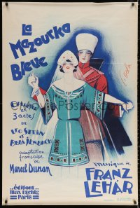 3h0065 LA MAZOURKA BLEUE 32x47 French stage poster 1929 The Blue Mazurka, Georges Dola art!