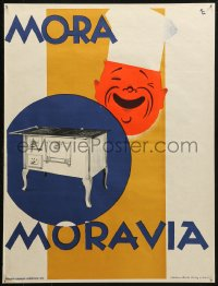 3h0026 MORA MORAVIA 18x24 Czech advertising poster 1930s great KG art of chef smiling over oven!