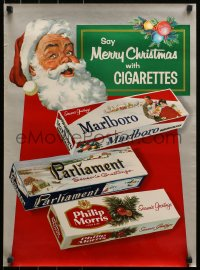 3h0027 SAY MERRY CHRISTMAS WITH CIGARETTES 19x26 advertising poster 1950s art of Santa & cigs!