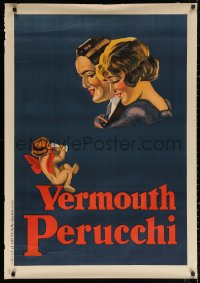 3h0028 VERMOUTH PERUCCHI 30x43 Spanish advertising poster 1926 art of couple & cherub drinking wine!