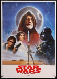 3h0076 STAR WARS 19x27 video poster R1995 A New Hope, George Lucas classic epic, art by John Alvin!