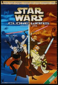 3h0078 STAR WARS: CLONE WARS 27x40 video poster 2005 Anakin Skywalker, Yoda & Kenobi, volume 1!