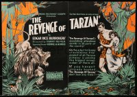 3h0003 REVENGE OF TARZAN trade ad 1920 Gene Pollar in the famous title role, Ryan jungle art, lion!