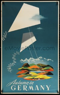 3h0127 AUTUMN IN GERMANY 25x40 German travel poster 1950s artwork of kites over countryside!