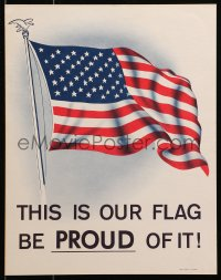 3h0015 THIS IS OUR FLAG BE PROUD OF IT 11x14 war poster 1970 cool art of waving flag!