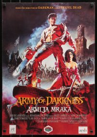 3h1021 ARMY OF DARKNESS Yugoslavian 19x27 1993 Sam Raimi, great artwork of Bruce Campbell with chainsaw hand!