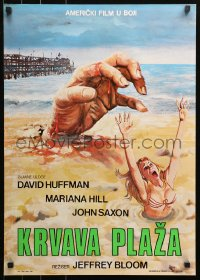 3h1029 BLOOD BEACH Yugoslavian 19x27 1980 huge hand & sexy girl in bikini sinking in quicksand!