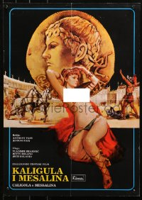 3h1031 CALIGULA & MESSALINA Yugoslavian 19x27 1982 sexy art of mostly naked Betty Roland by Crovato!