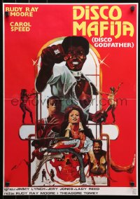 3h1042 DISCO GODFATHER Yugoslavian 19x27 1979 great blaxploitation artwork of Rudy Ray Moore by Dante!
