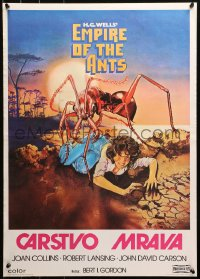 3h1045 EMPIRE OF THE ANTS Yugoslavian 20x28 1977 H.G. Wells, great horror art of monster attacking!