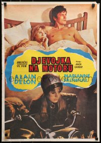 3h1054 GIRL ON A MOTORCYCLE Yugoslavian 19x27 1968 different sexy biker Marianne Faithfull & Delon!