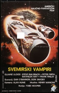 3h1060 LIFEFORCE Yugoslavian 17x28 1987 Tobe Hooper directed, sexy space vampire, cool sci-fi art!